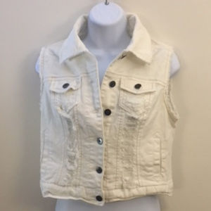 Very Cool Button Down Distressed Vest